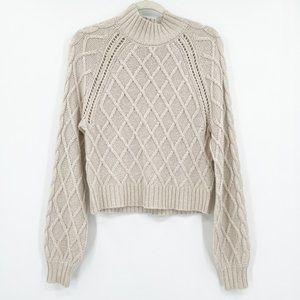 American Eagle Mock Neck Sweater Cozy Soft Beige S